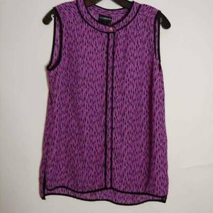 Liz Claiborne Blouse Purple Black Geometric Small